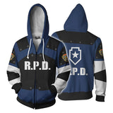 Resident Evil Hoodies - Leon Kennedy RDP Cosplay Zip Up Hoodie-Fandomsky