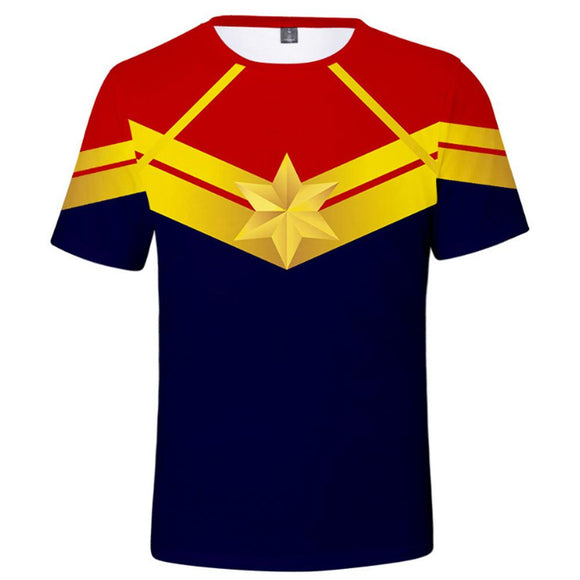 Captain Marvel Superhero Adults Printed T-Shirt-Fandomsky
