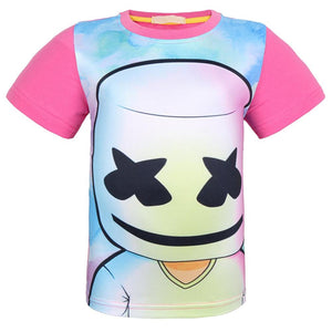Girls Marshmello DJ EDM Face Smile T-Shirt Top-Fandomsky