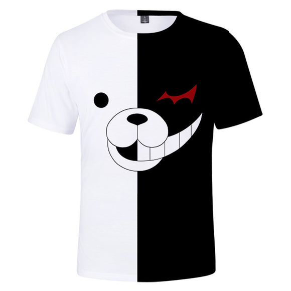 Danganronpa Monokuma Black&White Bear T-Shirt Cosplay Costume Short Sleeves Round Neck-Fandomsky