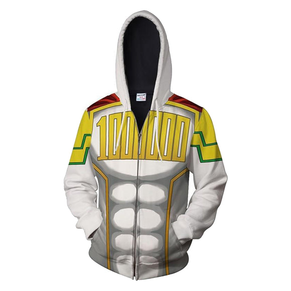 3D Print Unisex My Hero Academia Hoodie Zipper Up Sweatshirt Cosplay Costume