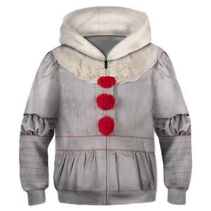 Kids Stephen King's It: Chapter Two Hoodie Pennywise Cosplay Hooded Zip Up Sweatshirt Cosplay Costume