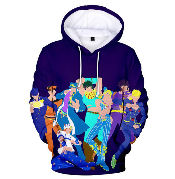 JoJo's Bizarre Adventure Unisex Hoodie 3D Printed Hooded Pullover Sweatshirt for Men Women