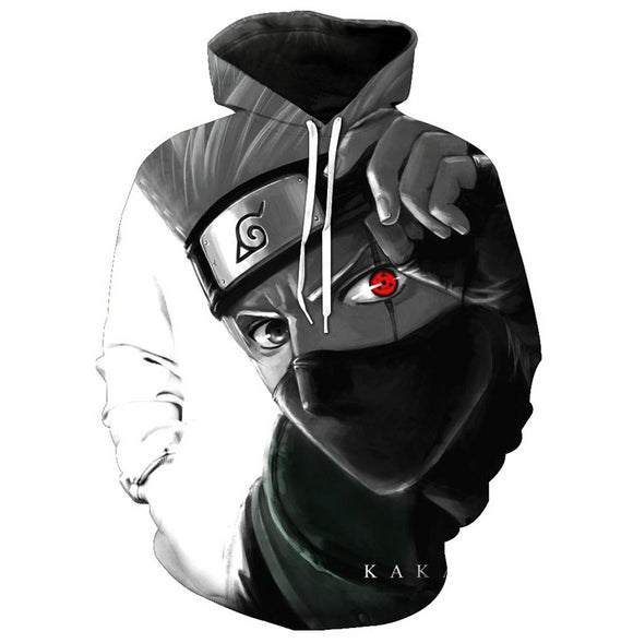 Men's 3D Naruto Hoodie Cartoon Anime Hatake Kakashi Cosplay Pullover Sweatshirt-Fandomsky
