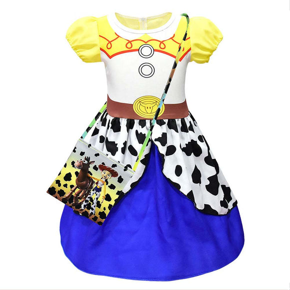 Girls Toy Story 4 Jessie Costumes Fancy Party Cowgirl Dress Up Kids Holiday Birthday Outfit Dresses-Fandomsky