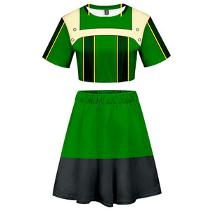 My Hero Academia 2 Pieces Asui Tsuyu Outfits for Women Short Sleeves Crop Top + A Line Skirt Sets-Fandomsky