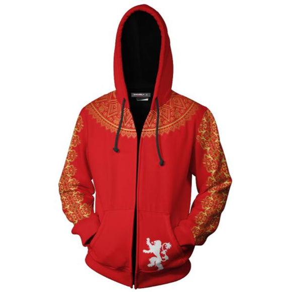 Unisex Lannister Hoodies Game of Thrones Zip Up 3D Print Jacket Sweatshirt-Fandomsky