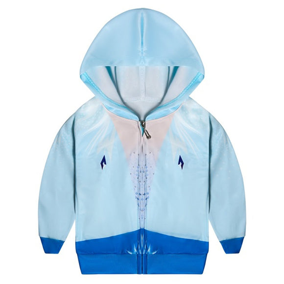 Kids Frozen2 Princess Elsa Hoodies Light Blue Zip Up Sweatshirt