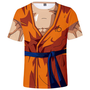 Men's 3D Dragon Ball Z Printed Goku Tight Short Sleeve Anime Tee-Fandomsky