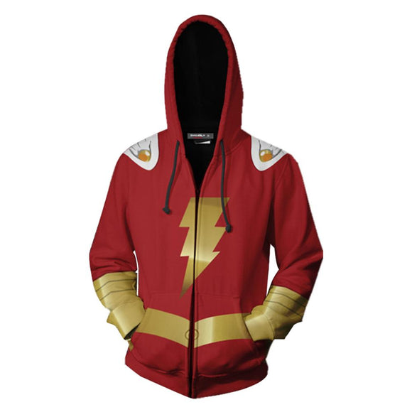 Boys Adults Hoodie Red DC Superhero Shazam 3D Zip Up Sweatshirt Unisex-Fandomsky