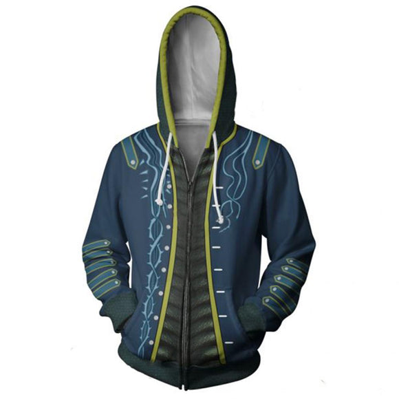Devil May Cry 5 3D Print Hoodie Vergil Cosplay Costume Sports Thin Jacket-Fandomsky