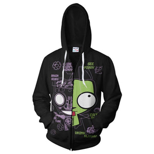 Invader Zim Gir Men's Full Zip Hoodie Hooded Long Sleeve Pocket Fleece Sweatshirt-Fandomsky
