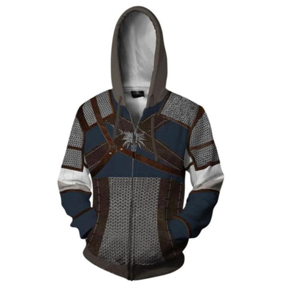 Unisex The Witcher 3: Wild Hunt Hoodie Geralt Cosplay Hooded Zip Up Sweatshirt Cosplay Costume