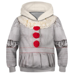 Kids Stephen King's It: Chapter Two Hoodie Pennywise Cosplay Hooded Pullover Sweatshirt Cosplay Costume