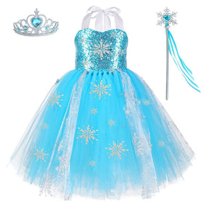 Kids Girls Frozen Dress Elsa Tutu Dress Party Dance Clothing Cosplay Dress