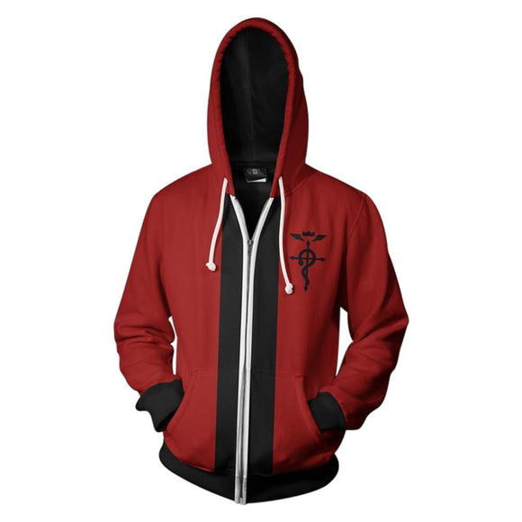 Men's Full Metal Alchemist Edward Zipper Hoody Hoodie Halloween Costume-Fandomsky