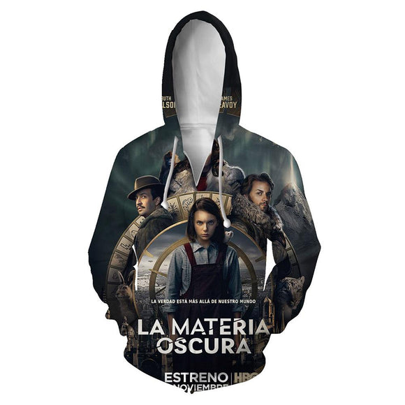 Unisex TV Series Hoodies His Dark Materials Zip Up 3D Print Jacket Sweatshirt