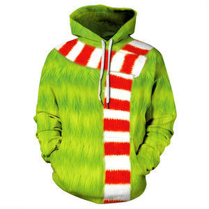 Unisex How the Grinch Stole Christmas Cosplay Costumes The Grinch Sweatshirt Hoodies Pullover Sportswear Top