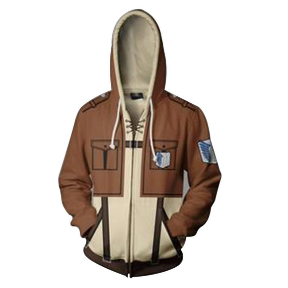 Attack on Titan Hoodie Survey Corps Zip-Up Pullover Sweatshirt Unisex-Fandomsky