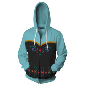 Unisex Frozen Hoodie Princess Anna Cosplay Hooded Zip Up Sweatshirt Cosplay Costume