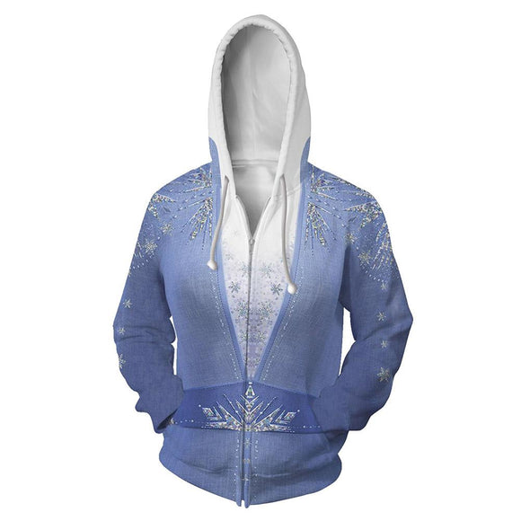 Unisex Princess Elsa Hoodies Frozen 2 Zip Up 3D Print Jacket Sweatshirt