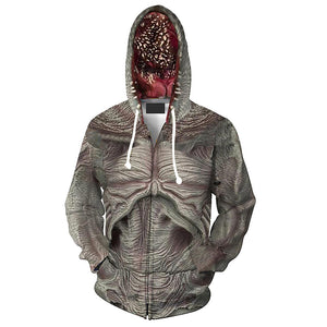 Unisex Demogorgon Hoodies Stranger Things Zip Up 3D Print Jacket Sweatshirt-Fandomsky