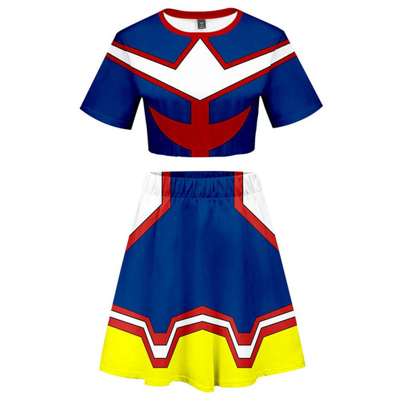 My Hero Academia 2 Pieces All Might Outfits for Women Short Sleeves Crop Top + A Line Skirt Sets-Fandomsky