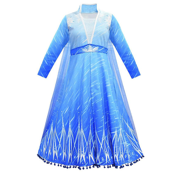 Girls Frozen 2 Elsa Princess Dress Christmas Cosplay Birthday Party Sky Blue Evening Party Dress