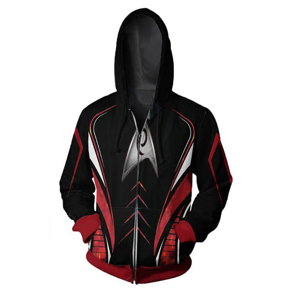 Men's Hoodie Star Trek Cosplay Costume Zipped Jacket Hoodie