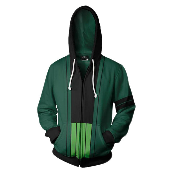 Teen Hoodie One Piece Roronoa Zoro Green Zip Up Sweatshirt Unisex-Fandomsky