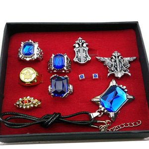Cosplay Black Butler Ciel Sebastian Ring Necklace Earring Studs Set-Fandomsky
