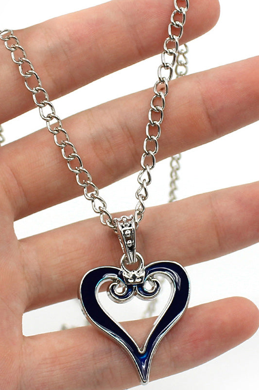 Anime Kingdom Hearts Crown Logo Pendant Blue Heart Necklace Charm-Fandomsky