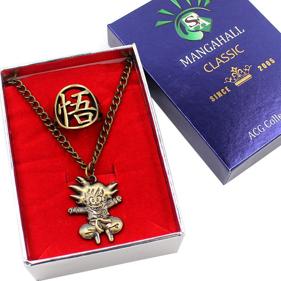 Dragon Ball Son Goku Pendant Necklace Ring Sets-Fandomsky