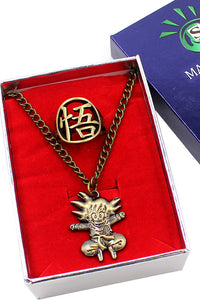 Dragon Ball Z Goku Bronze Alloy Pendant Necklace Key Chain Ring Suit