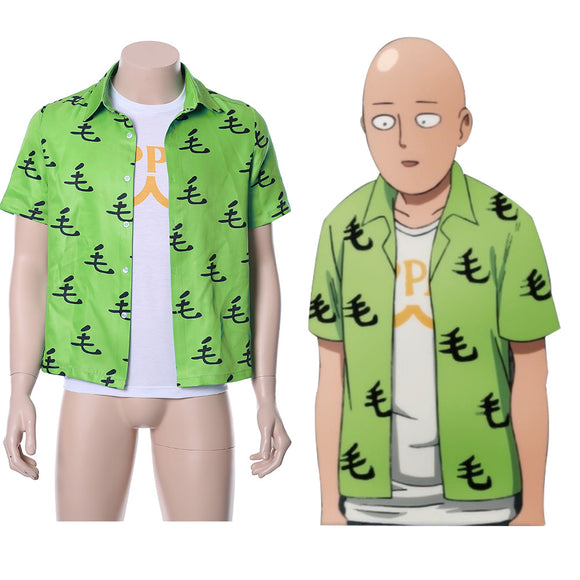 One Punch Man Saitama Oppai Casual Shirt Tee Green Ver.-Fandomsky