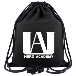 Anime My Hero Academia Drawstring Backpack with Waterproof Durable Lightweight Color Black Traveling-Fandomsky