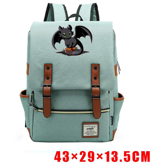 How to Train Your Dragon Toothless Backpack Blue Pink Teenager-Fandomsky