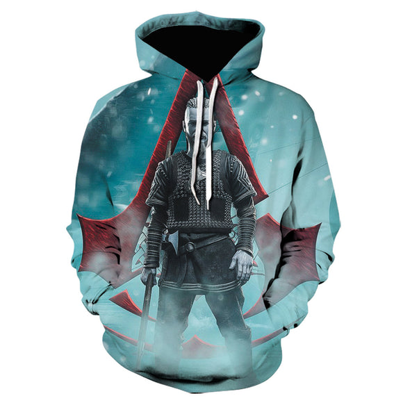Unisex Assassin's Creed Valhalla Hoodies Teens Novelty Hooded Sweatshirts Spring Pullover Outerwear Sportswear
