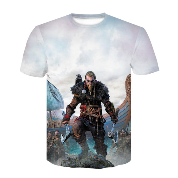 Unisex Game Assassin's Creed Valhalla T-shirt Men Women Summer O-neck T-shirt Casual Street 3D Print Shirts
