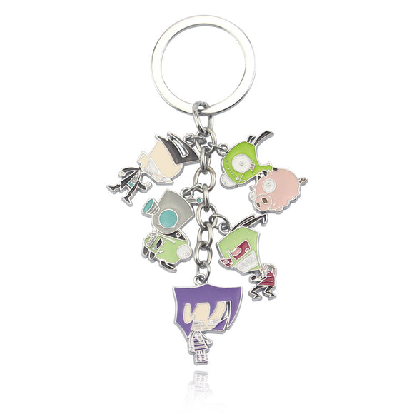 Anime Invader ZIM Key Chains Metal Figures Keychain Birthday Christmas Jewelry Gift Keyring