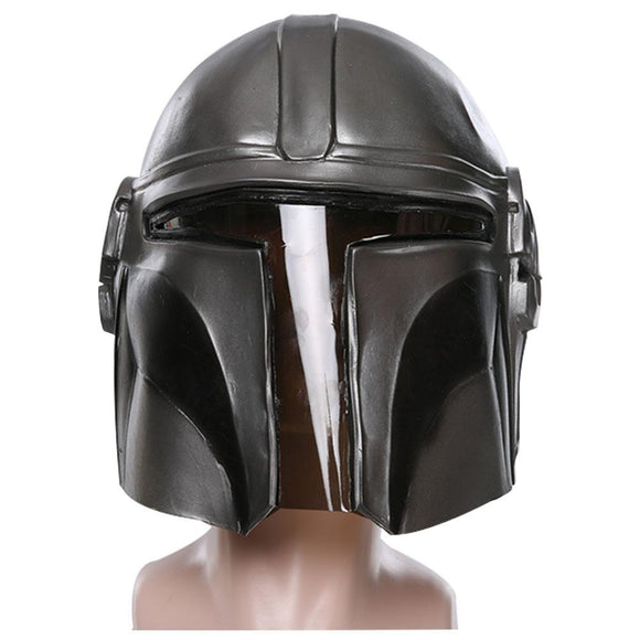 Star Wars Mandalorian Latex Full Head Helmet Mask Halloween Party Cosplay Mask Props