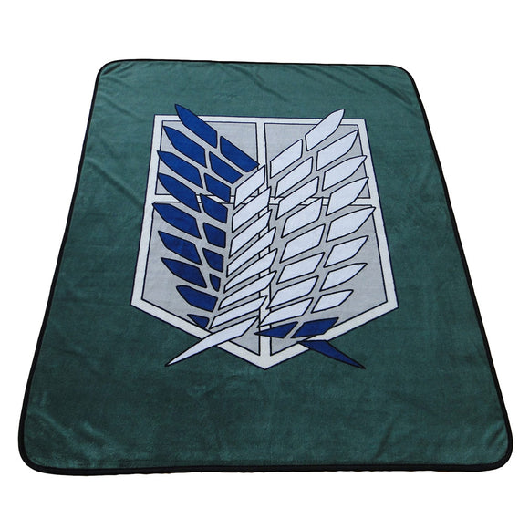 Attack on Titan Blanket Coral Fleece Flannel Survey Corps Plush Sheets Cosplay Costume