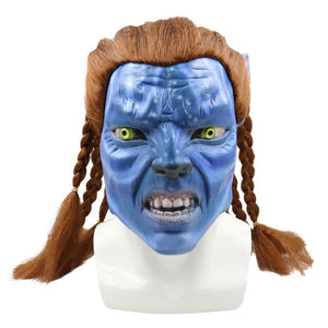 Halloween Avatar Deluxe Hair Whip Jake Sully Mask Overhead Vinyl Latex Cosplay Costume Props