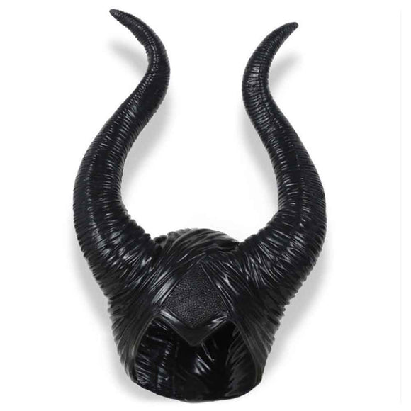 Halloween Maleficent Cosplay Props Witch Horns Hat Headwear Mask Headgear Helmet Party Black Queen
