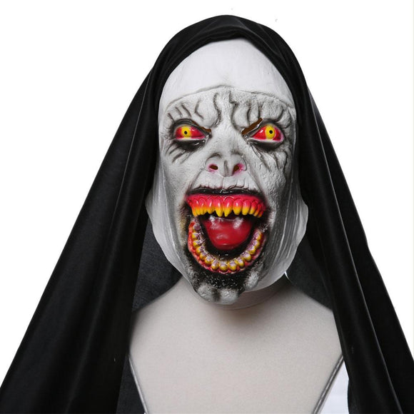 Halloween Horror Nun Mask Scary Latex Masks With Headscarf Full Face Helmet Halloween Party Props Cosplay Masks