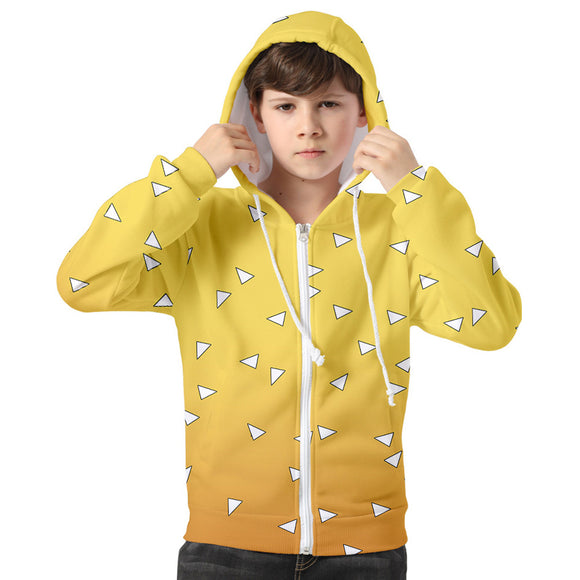 Kids Demon Slayer: Kimetsu no Yaiba Hoodie Agatsuma Zenitsu Cosplay Hooded Zip Up Sweatshirt Cosplay Costume