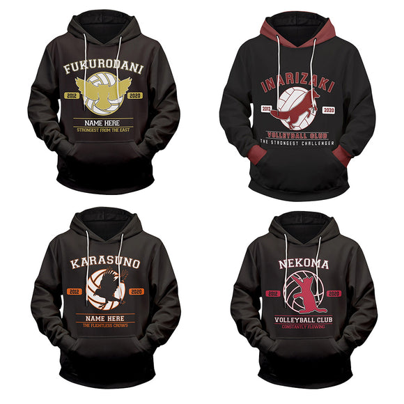 Unisex Haikyuu!! Hoodies High School Volleyball Club Printed Long Sleeve Pullover Sportswear Casual Sweatshirt
