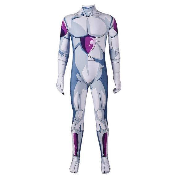 Adult Men Dragon Ball Frieza Cosplay Costume 3D Printed Jumpsuit Halloween Party Show Costume