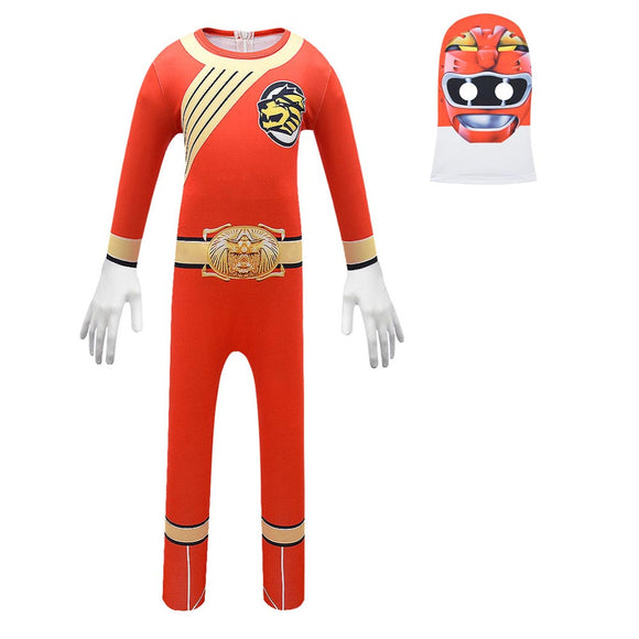 Kids Hyakujuu Sentai Gaoranger Gao Red Cosplay Zentai Suit Halloween Costume Children Jumpsuit Bodysuit Outfits