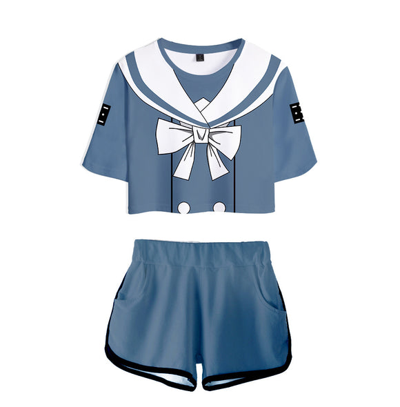 Women Danganronpa V3: Killing Harmony Tenko Chabashira Cosplay Crop Top & Shorts Set Summer 2 Pieces Casual Clothes